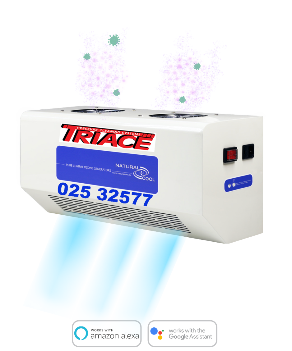 sanipure unit with triace logo and phone number. product works with devices such as alexa.